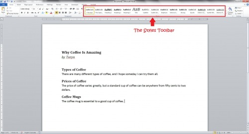 Styles toolbar