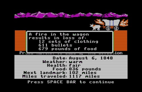 The Oregon Trail wagon fire
